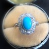 2.50ctw Victorian Turquoise and Old Mine Cut Halo Ring 4