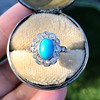 2.50ctw Victorian Turquoise and Old Mine Cut Halo Ring 12