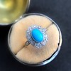 2.50ctw Victorian Turquoise and Old Mine Cut Halo Ring 6
