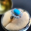 2.50ctw Victorian Turquoise and Old Mine Cut Halo Ring 5