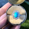2.50ctw Victorian Turquoise and Old Mine Cut Halo Ring 7