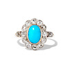 2.50ctw Victorian Turquoise and Old Mine Cut Halo Ring 0