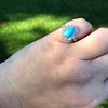2.50ctw Victorian Turquoise and Old Mine Cut Halo Ring 10