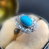 2.50ctw Victorian Turquoise and Old Mine Cut Halo Ring 21