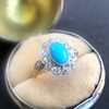 2.50ctw Victorian Turquoise and Old Mine Cut Halo Ring 20