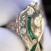 Art Deco Diamond Dinner Ring, Platinum 16