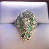 Art Deco Diamond Dinner Ring, Platinum 18