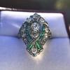 Art Deco Diamond Dinner Ring, Platinum 7