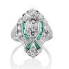 Art Deco Diamond Dinner Ring, Platinum 0