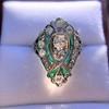Art Deco Diamond Dinner Ring, Platinum 29