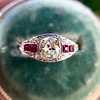 1.00ct (est) Art Deco Diamond and Ruby Ring 13