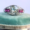 1.00ct (est) Art Deco Diamond and Ruby Ring 18