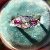 1.00ct (est) Art Deco Diamond and Ruby Ring 15