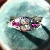 1.00ct (est) Art Deco Diamond and Ruby Ring 14