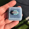 2.23ct Art Deco Emerald Cut and Turquoise Halo Ring 25