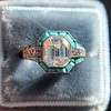 2.23ct Art Deco Emerald Cut and Turquoise Halo Ring 18