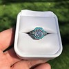 2.23ct Art Deco Emerald Cut and Turquoise Halo Ring 6