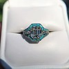 2.23ct Art Deco Emerald Cut and Turquoise Halo Ring 9