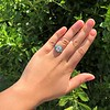 2.23ct Art Deco Emerald Cut and Turquoise Halo Ring 45