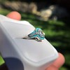 2.23ct Art Deco Emerald Cut and Turquoise Halo Ring 10