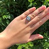 2.23ct Art Deco Emerald Cut and Turquoise Halo Ring 30