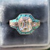 2.23ct Art Deco Emerald Cut and Turquoise Halo Ring 21