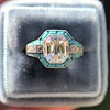 2.23ct Art Deco Emerald Cut and Turquoise Halo Ring 22