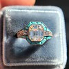 2.23ct Art Deco Emerald Cut and Turquoise Halo Ring 0