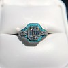 2.23ct Art Deco Emerald Cut and Turquoise Halo Ring 14