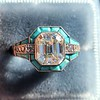 2.23ct Art Deco Emerald Cut and Turquoise Halo Ring 19