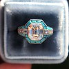 2.23ct Art Deco Emerald Cut and Turquoise Halo Ring 23