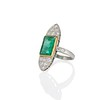 4.05ct Emerald and Old European Cut Diamond Ring 1