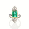 4.05ct Emerald and Old European Cut Diamond Ring 0
