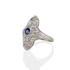 1.42ctw 3-Stone Old European Cut Diamond and Sapphire Ring 1