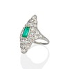 3.50ctw Art Deco Emerald and Old European Cut Diamond Dinner Ring 1