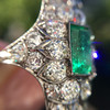3.50ctw Art Deco Emerald and Old European Cut Diamond Dinner Ring 11