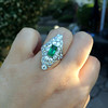 3.50ctw Art Deco Emerald and Old European Cut Diamond Dinner Ring 15