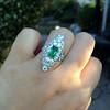 3.50ctw Art Deco Emerald and Old European Cut Diamond Dinner Ring 15