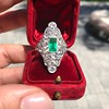 3.50ctw Art Deco Emerald and Old European Cut Diamond Dinner Ring 6