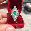 3.50ctw Art Deco Emerald and Old European Cut Diamond Dinner Ring 6