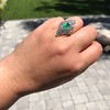 3.50ctw Art Deco Emerald and Old European Cut Diamond Dinner Ring 18