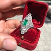 3.50ctw Art Deco Emerald and Old European Cut Diamond Dinner Ring 21
