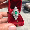 3.50ctw Art Deco Emerald and Old European Cut Diamond Dinner Ring 7
