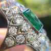 3.50ctw Art Deco Emerald and Old European Cut Diamond Dinner Ring 9