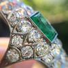 3.50ctw Art Deco Emerald and Old European Cut Diamond Dinner Ring 9