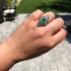 3.50ctw Art Deco Emerald and Old European Cut Diamond Dinner Ring 19