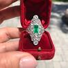 3.50ctw Art Deco Emerald and Old European Cut Diamond Dinner Ring 20