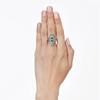 3.50ctw Art Deco Emerald and Old European Cut Diamond Dinner Ring 2