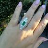 3.50ctw Art Deco Emerald and Old European Cut Diamond Dinner Ring 14