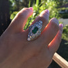 3.50ctw Art Deco Emerald and Old European Cut Diamond Dinner Ring 16